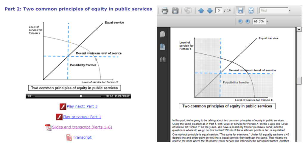 Screenshot of an online lecture recorded using Camtasia and an accessible PDF equivalent.