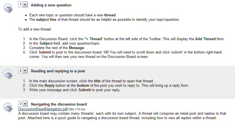 Screenshot of the discussion board instructions. Text of instructions copied below.