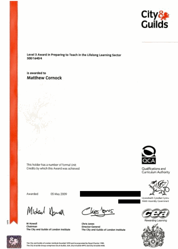 Scan of Preparing to Teach in the Lifelong Sector Award certificate
