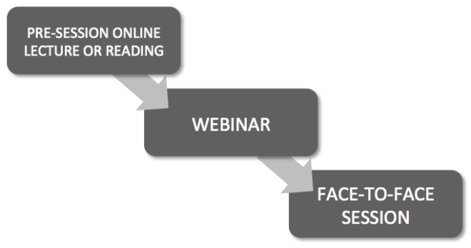 Blended learning with webinars: double-flipped classroom starting with pre-session online lecture or reading, leading into webinar, followed by face-to-face session