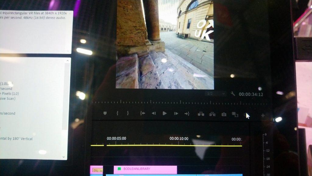 Screenshot of Adobe Premiere Pro 360 editing